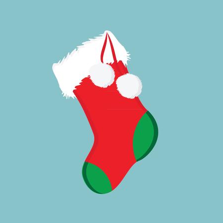 pom: Vector illustration red christmas present sock with white pom pom. Christmas sock