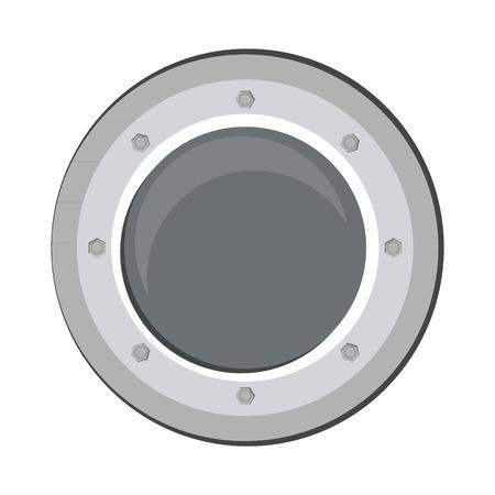 illuminator: Vector illustration boat round porthole seascape isolated on white. Metal ship porthole with rivets Illustration