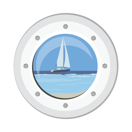 Vector illustration boat round porthole seascape isolated on white. Metal ship porthole with rivets. Luxury yacht in the sea view from porthole Illustration