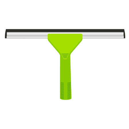 Vector illustration green rubber window glass squeegee, cleaner . Cleaning supplies Illustration