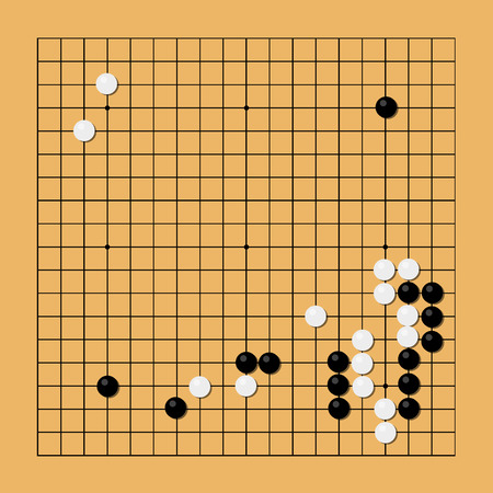 strategical: Vector illustration traditional chinese, japanese strategy board game. Go game, igo, go board and bowl, yundzi.