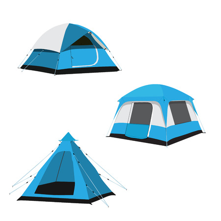 Vector set of blue camping tents vector illustration. Camping equipment, camping gear, camping icon