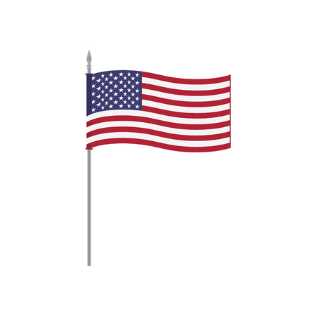 USA vector table flag template. Waving United States of America flag on a metallic pole, isolated on a white background. Flag stand, flagstaff Illustration