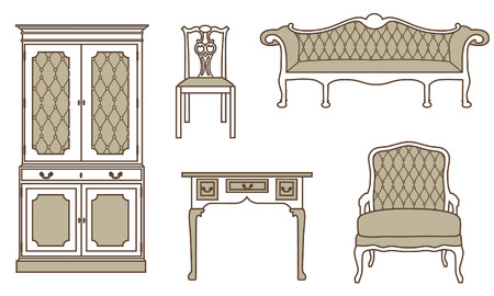 Vector illustration set, collection of vintage furniture icons. Antique, retro furniture. 18th century style interior.