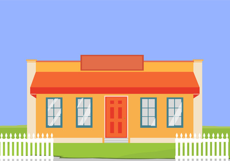 suburban: Vector illustration colorful cottage house. Flat style modern building. Residential House. Architecture home apartment urban family life