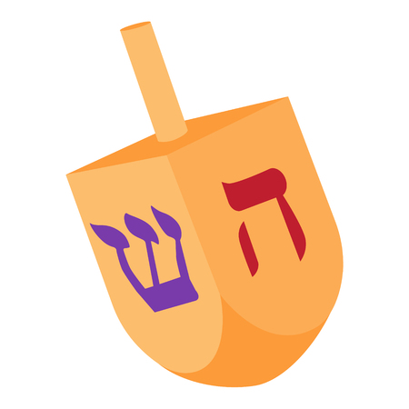 Vector illustration of Hanukkah dreidel, and its letters of the Hebrew alphabet. Chanukah dreidel icon. Jewish, hebrew toy Illustration