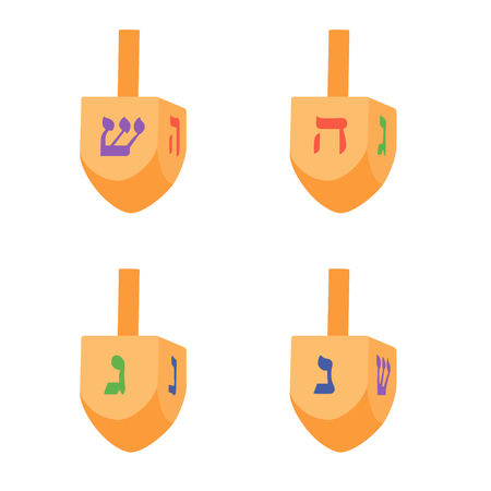 Vector illustration set, collection of Hanukkah dreidels, and its letters of the Hebrew alphabet. Chanukah dreidel icon. Jewish, hebrew toy