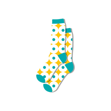 Vector illustration flat design colorful socks isolated on white background. Textile warm clothes socks pair cute decoration wool winter clothing. Sport season collection. Illustration