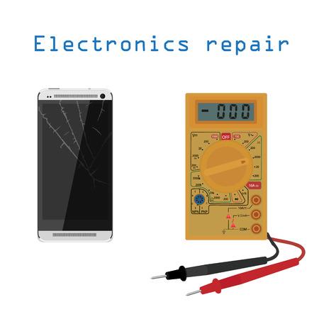 multimeter: Vector illustration mobile phone, smartphone repair.  Broken mobile phone, tablet.  Electronic equipment repair concept . Electronic technology. Check multimeter. Illustration