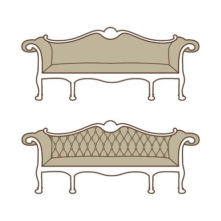 18th century style: Vector illustration of vintage furniture sofa. Antique, retro furniture. 18th century style interior.