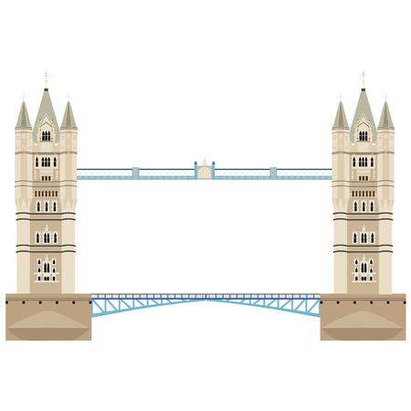 Vector illustration London tower bridge icon. United Kingdom landmark