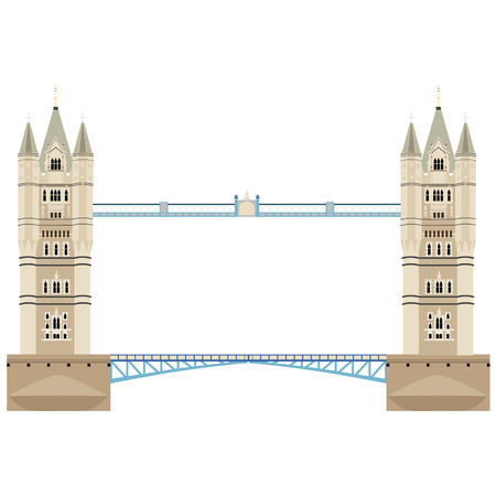 Vector illustration London tower bridge icon. United Kingdom landmark