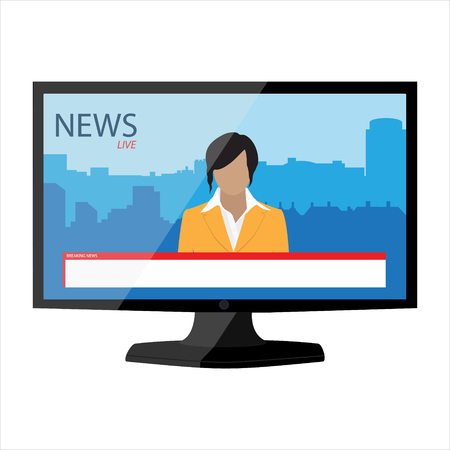newsreader: News app on TV monitor screen. Electronic mass media. Anchorman on tv broadcast news. Media on television concept. Breaking news. Man newsreader or journalist concept background