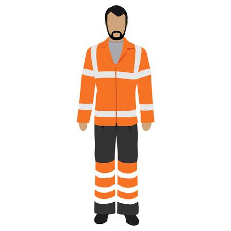 Vector illustration worker in orange safety jacket. Worker safety clothing. Protective worker uniform jacket with reflective stripes.