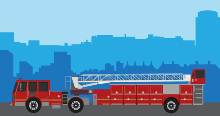 Vector illustration fire truck on city background. Firefighters emergency vehicles. Emergency vehicles fire engine trucks. Fire suppression and mine victim assistance