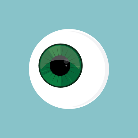 optometrist: Raster illustration eye ball. Green eye. Cartoon eyeball. Eyeball flat icon Stock Photo