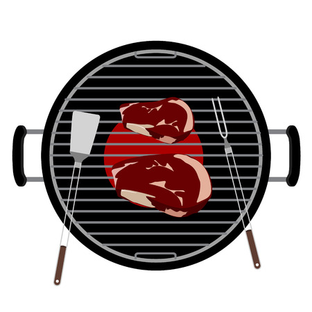 Raster illustration charcoal barbecue grill  top view. Grilled beef steak meat and barbecue tools turner and fork grilling utensils