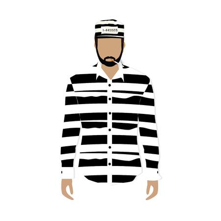 Raster illustration prisoner in hat with number, striped cloth and burning cigarette. Prisoner uniform