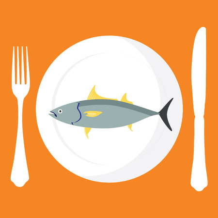 Raster illustration cooked tuna fish on plate with fork and knife on orange background