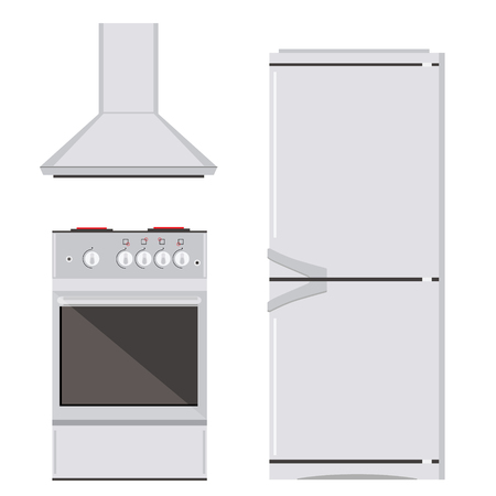 extractor: Raster illustration modern electric or gas stove, refrigerator or fridge and extractor kitchen hood icon set. House appliance. Kitchen appliance
