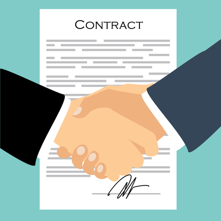 Raster illustration businessman handshake, contract signing. Background for business and finance. Signing document concept. Agreement Stock Photo