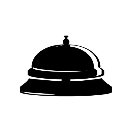 service bell: Raster illustration hotel bell. Reception bell flat icon. Black silhouette of reception service bell Stock Photo