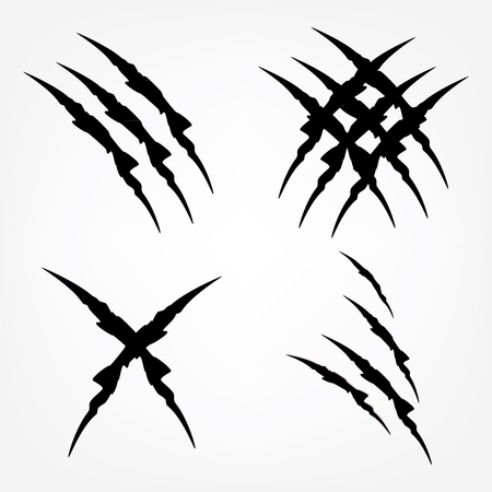 Raster illustration set of black claw scratches isolated. Animal claw scratches