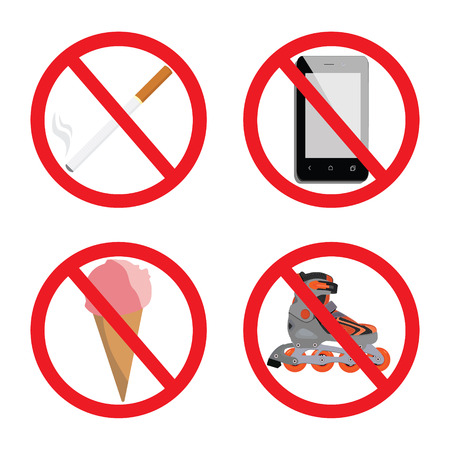 fire and ice: Set of signs for different prohibited activities. No signs. No smoking. No ice cream or food. No skating. No smartphone