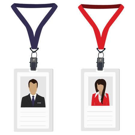 Raster illustration white plastic lanyard  badge with woman and man photo raster isolated. Name badge. Name tag. Employee badge