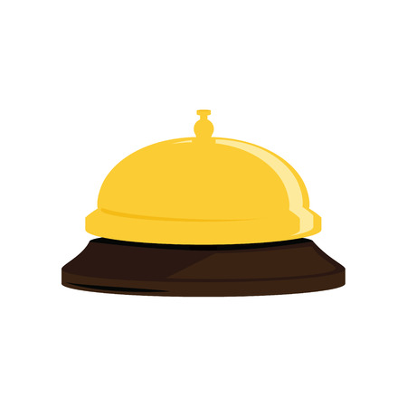 Raster illustration golden hotel bell. Reception bell flat icon Stock Photo