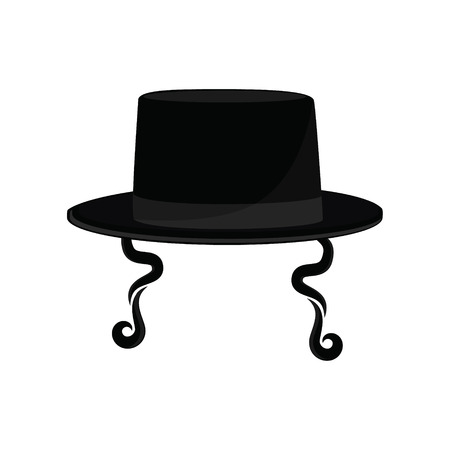 hasidic: Raster illustration black cylinder hat. Orthodox jewish hat with sideburns. Judaism symbols