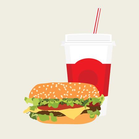 Raster illustration fast food icon. Cheeseburger and soda drink. Hamburger