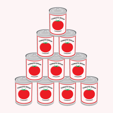 Raster illustration can of tomato soup isolated on white background. Canned food. Tomato soup cans pyramid