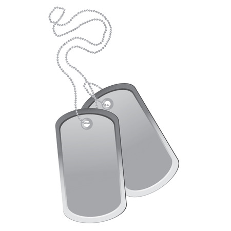 blank metallic identification plate: Raster illustration military blank identity tag. Pair of dog tag on chain