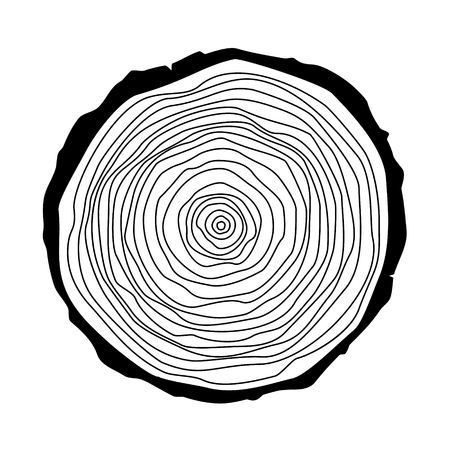 Raster illustration tree rings. Saw cut tree trunk. Annual tree growth rings  icon