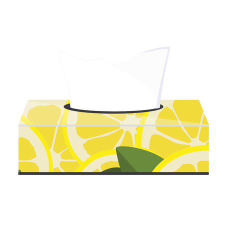 Raster illustration  tissue box with seamless pattern with lemon slices and tissue paper inside.