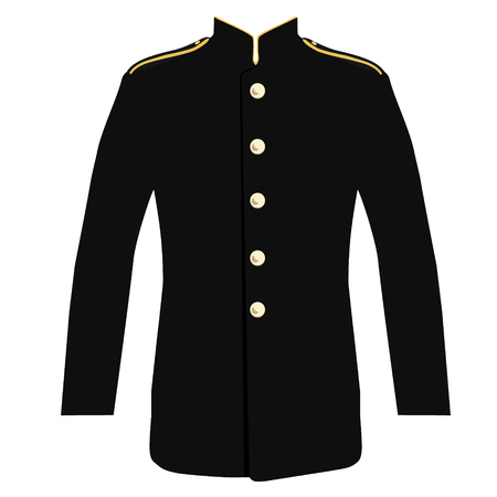 sergeant: Raster illustration first responder uniform with high collar, rank insignia and golden buttons. Officer, policeman uniform