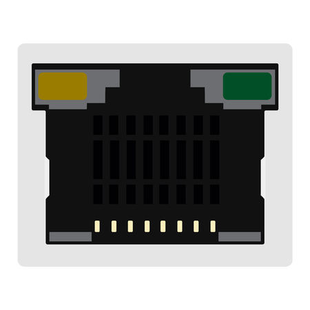 hub computer: Raster illustration realistic network ethernet port. Network router or switch icon. Stock Photo