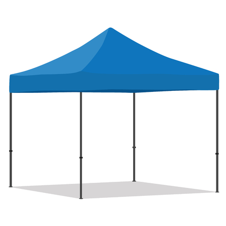 Blue folding tent raster illustration. Pop up gazebo. Canopy tent