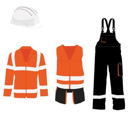 waistcoat: Orange safety jacket. Worker clothing. Safety clothing. Protective worker jacket with reflective stripes