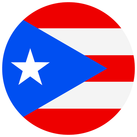 Vector illustration round Puerto Rico flag icon isolated on white background. Puerto-rico flag button
