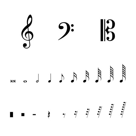 Vector Illustration Musical Notes And Pauses Black Music Symbols