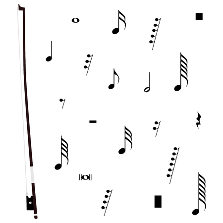 Vector Illustration Violin Bow Musical Notes And Pauses Black