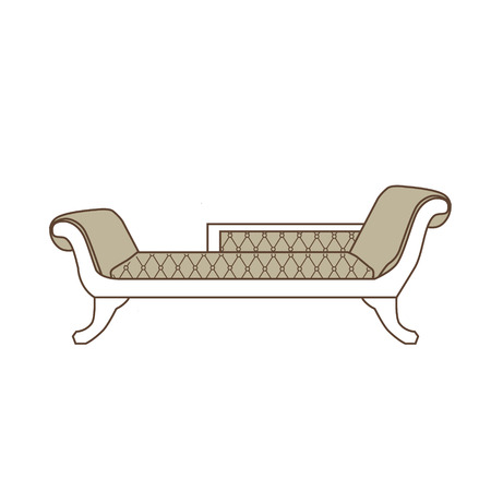 18th century style: Vector illustration vintage sofa, divan or couch icon. Classic elegant furniture. Antique, retro furniture. 18th century style interior.
