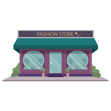 Vektor-Illustration Cartoon Kleid Shop-Symbol. Lokales Boutique-Gebäude an der Straße. Europäische Bekleidungsgeschäftfrontfassade. Modegeschäft außen. Kleidung und Mode