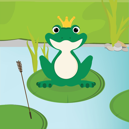 Raster illustration green, cute frog with golden crown on head sitting on the water lily leaf in lake.  Stock Photo