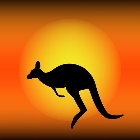 Raster illustration sunset in dessert with black kangaroo silhouette. Kangaroo in Australia