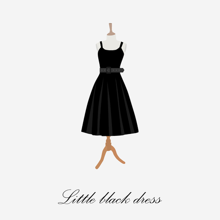 Black dress on mannequin raster illustration. Cocktail dress. Woman black dress icon. Little black dress