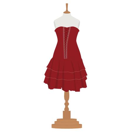 bordo: Raster illustration red, bordo elegant cocktail and evening woman dress  design on mannequin for boutique.  Stock Photo