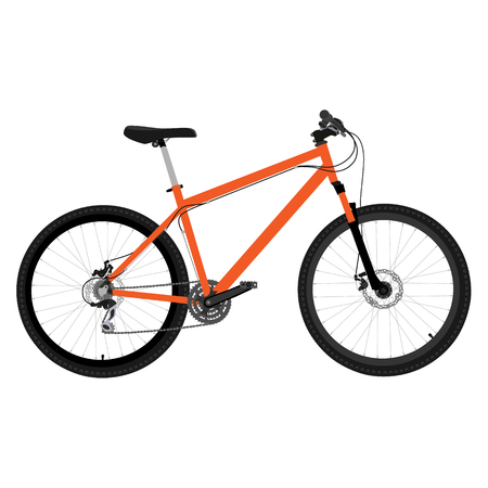 Orange bicycle sport transport raster icon isolated. Bicycle race. Healthy activity
